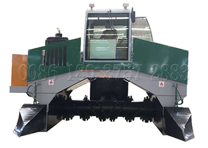 Crawler type compost turner for chicken waste processing