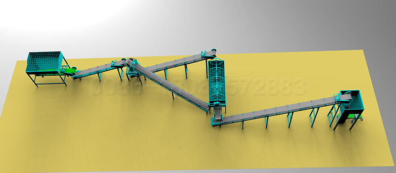 Powder Organic Fertilizer Processing Line Layouts 3D